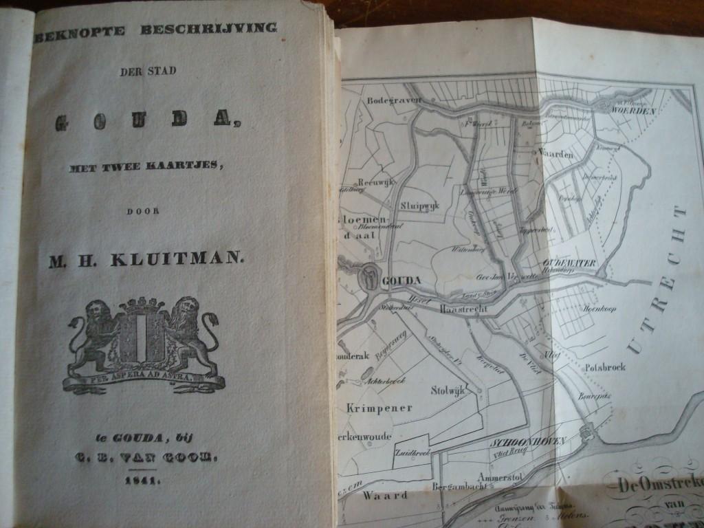 Kluitmans Beknopte beschrijving der stad Gouda met deel van de kaart van de omgeving