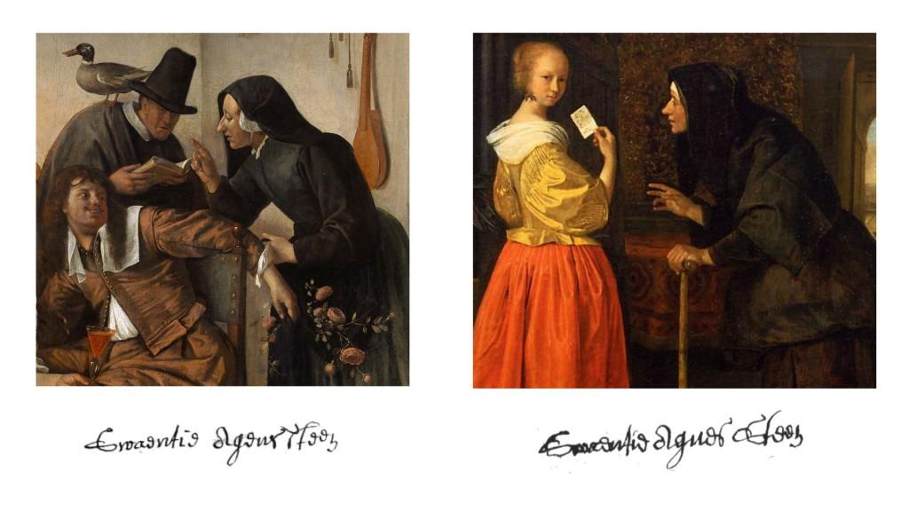 Twee fragmenten uit schilderijen van Jan Steen waarop zijn zus Swaantje Agnes Steen te zien is als klopje. Eronder handtekeningen van de jonge en de oudere Swaantje.