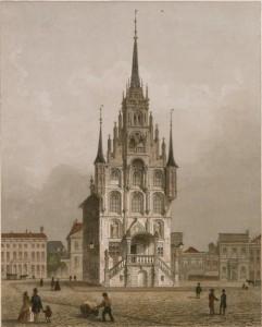 Achttiende-eeuwse prent van het Goudse stadhuis