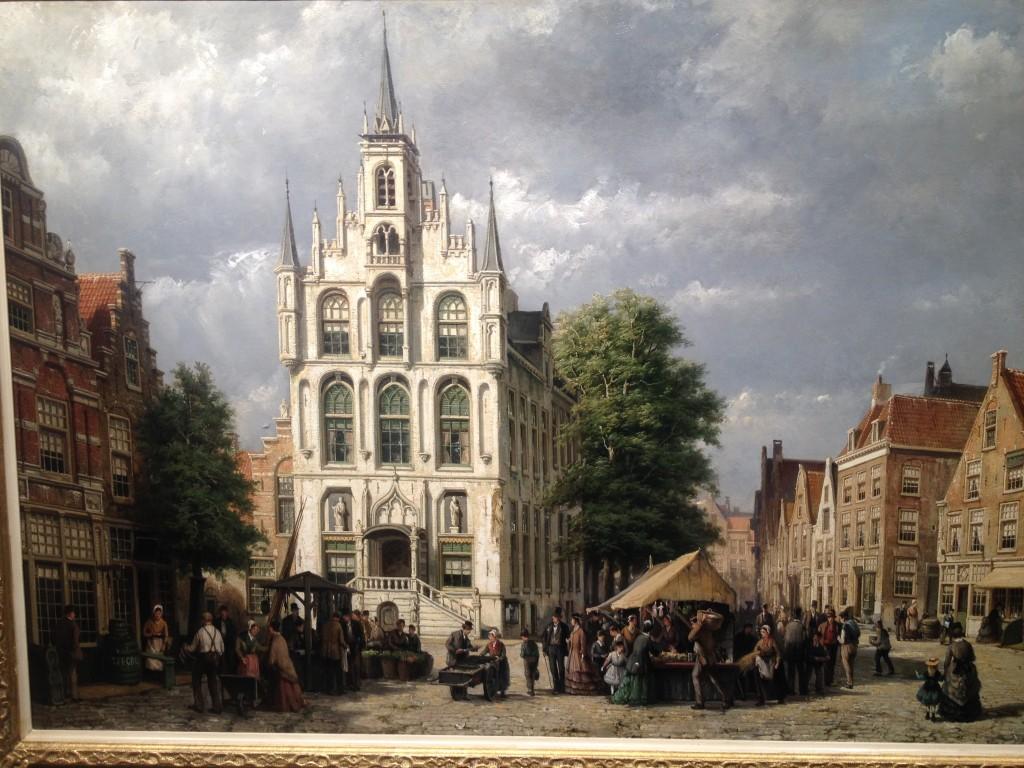 Fantasieweergave van de Goudse Markt, geschilderd door Willem Koekkoek