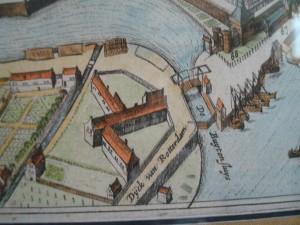 Detailopname uit de kaart van Johannes Bleau uit 1649 met de Rotterdamse- of Dijkspoort, een van de poorten die midden-achttiende eeuw werd afgebroken