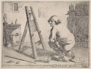 Curieus zelfportret van Aert van Waes. Uit de tekst eronder blijkt dat hij nauwelijks een boterham verdient aan schilderen en daarom 'in zijn palet heeft gescheten'