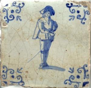 Officier van de schutterij. Tegel, gevonden in een huis aan de Oosthaven in Gouda.