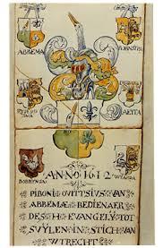 Tegeltableau, gemaakt door Wytze Abbema, zoon van Pibo Ovittius Abbema, uit de kerk van Oldeboonr