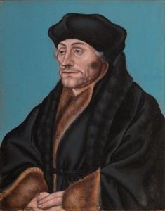 Het portret van Erasmus van Lucas Cranach  in museum Gouda