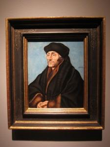 Het portret van Erasmus dat op de TEFAF is verkocht. Toegeschreven aan de werkplaats van Lucas Cranach de oudere