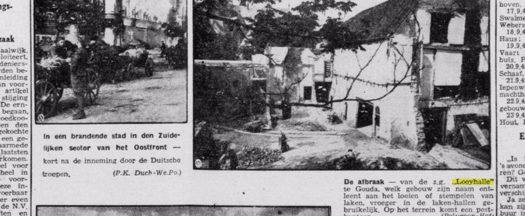 Foto van de afbraak van het Collatiehuis of Paulusklooster uit de Delftsche Courant van 11 september 1942