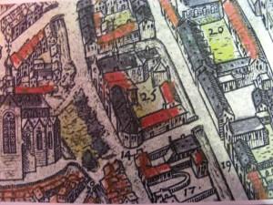 Het Collatiehuis (nr. 25) op de kaart van Braun & Hogenberg uit 1585.