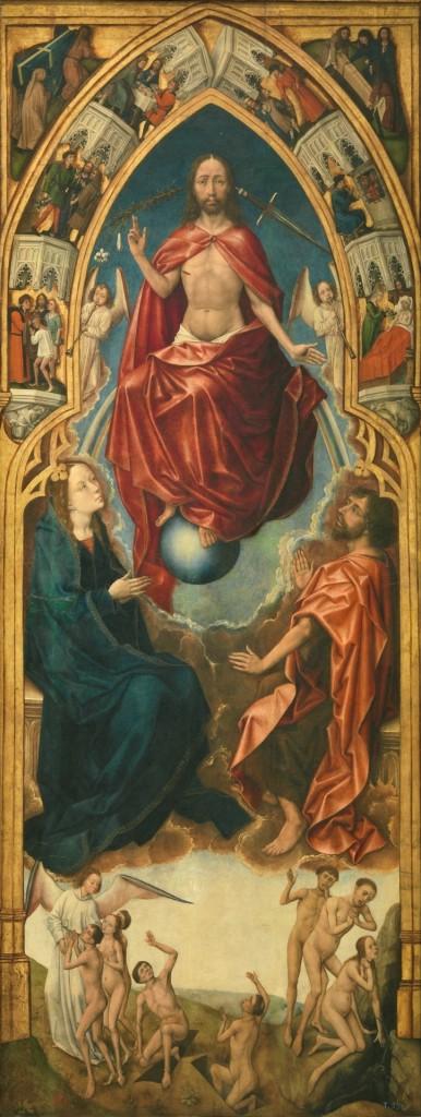 Deel triptiek van de anonieme 'Meester van de Verlossing' uit ca. 1450 uit het Prado in Madrid. Hij is een leerling  van Rogier van der Weyden. De overeenkomsten met de houtsnede van de Goudse Houtsnijder zijn treffend. Wellicht heeft de houtsnijder, net als Leeu, Vlaanderen bezocht en dit werk gezien. Eduardo Barba uit Madrid wees mij hierop.