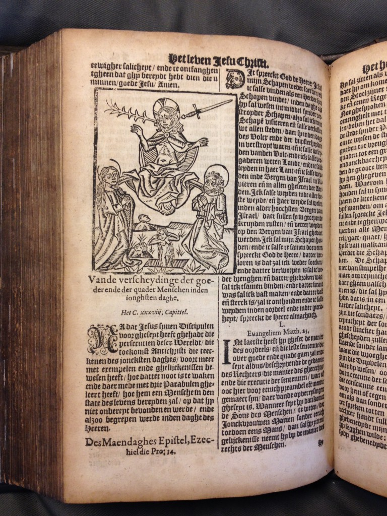 Afbeelding van het Laatste Oordeel, vervaardigd door de Tweede Goudse Houtsnijder, in de Rotterdamse herdruk uit 1618. Universiteitsbibliotheek Amsterdam, signatuur 63-1486