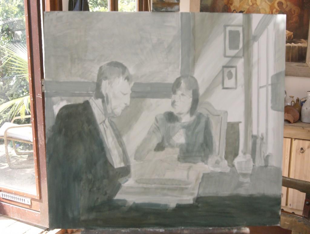 Het eerste ontwerp van ons schilderij