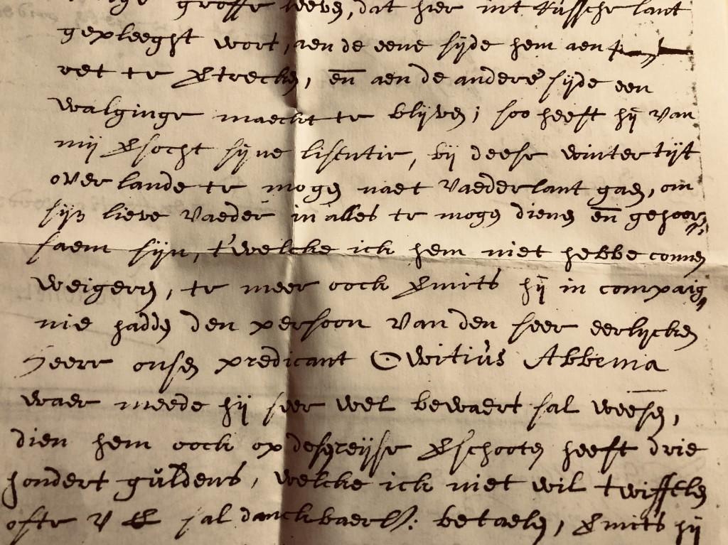 """Detail uit brief van J. van Veltdriel aan Abbe Freercks Gabbema, """"rentemeester der stad Leeuwaerden"""", d.d. 12 februari 1631. (in: OBW 84, HCL, Leeuwarden)"""