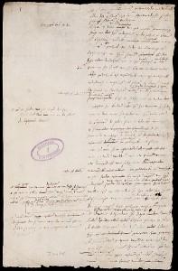 Het originele handschrift van de Acte van Verlatinghe, compleet met lelijke archiefstempel