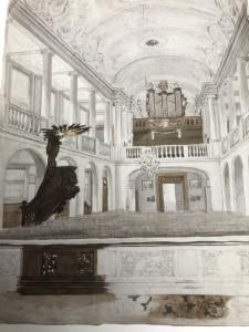 Interieur van de vorige Sint-Jozefkerk op de plek waar nu de Gouwekerk staat